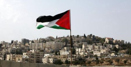 Palestinian Flag on rooftop of home in Silwan
