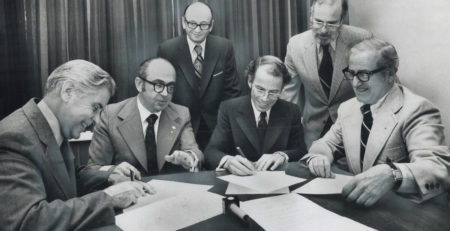 Signing of United Church of Canada and B'nai Brith Agreement, May 4, 1973